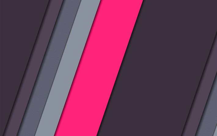 Download wallpapers strips, gray background, material design, pink line, geometry, abstract material, art