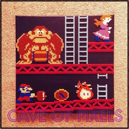 Donkey Kong canvas perler pixel art by Cave of Pixels
