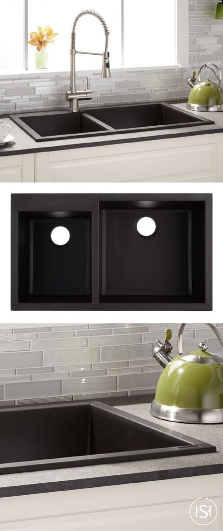 """Add style and class to your kitchen with the elegantly crafted 34"""" Sabelle Double Bowl Granite Composite Sink from Signature Hardware. Made of quality stone, this piece is sure to look great while lasting for years to come. Try pairing this gorgeous addition to your kitchen with a sleek faucet for a modern look!"""