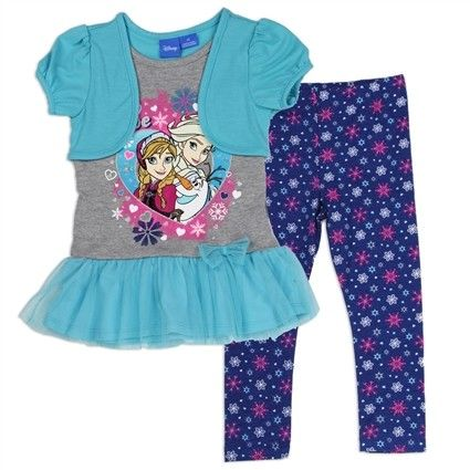 Disney Frozen Anna Elsa and Olaf Grey and Turquoise Shirt with Purple Leggings Covered In Snowflakes    Disney Frozen Anna Elsa and Olaf Grey and Turquoise Shirt with Purple Leggings Covered In Snowflakes  Free Shipping