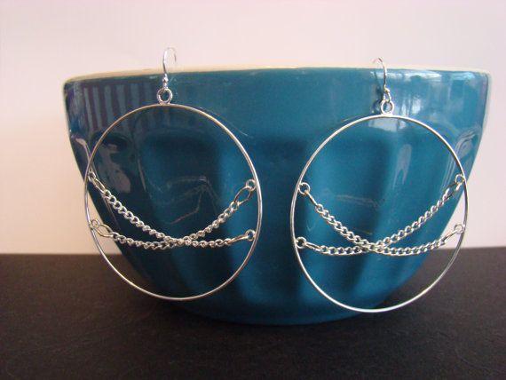 Hoop and Chain Earrings by KraftsByKeller on Etsy, $9.00