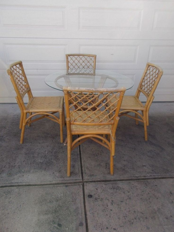 Vintage Rattan Wicker Cane Indoor Outdoor Setting Table U0026 Chairs | EBay    Paint These?