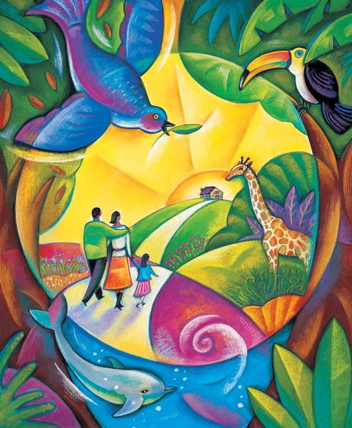 """""""The truth is: the natural world is changing. And we are totally dependent on that world. It provides our food, water and air. It is the most precious thing we have and we need to defend it.""""            David Attenborough               Art: Susan Tolonen"""