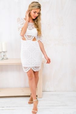 Marshmallow Pavlova Womens Lace Dress - White-SALE