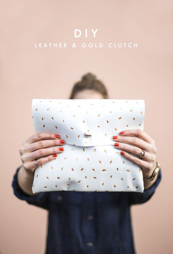 DIY metallic dotted clutch tutorial and pattern, easy fashion craft idea that makes a great gift! #style #sewing