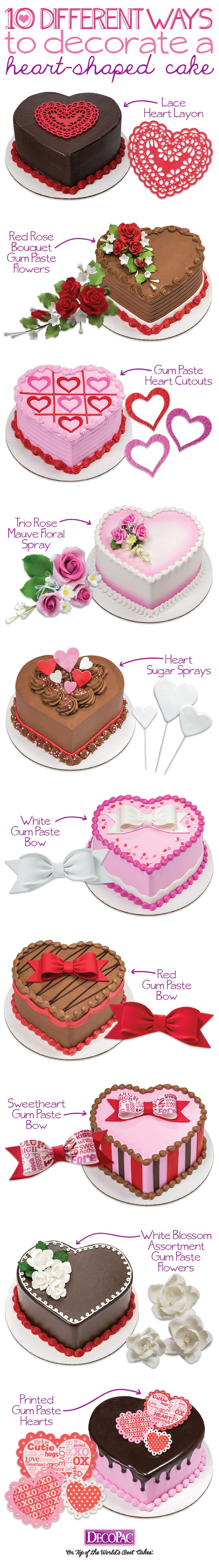 Cream heart cake says i love you in a hundred different ways - 10 Different Ways To Decorate Heart Shaped Cakes