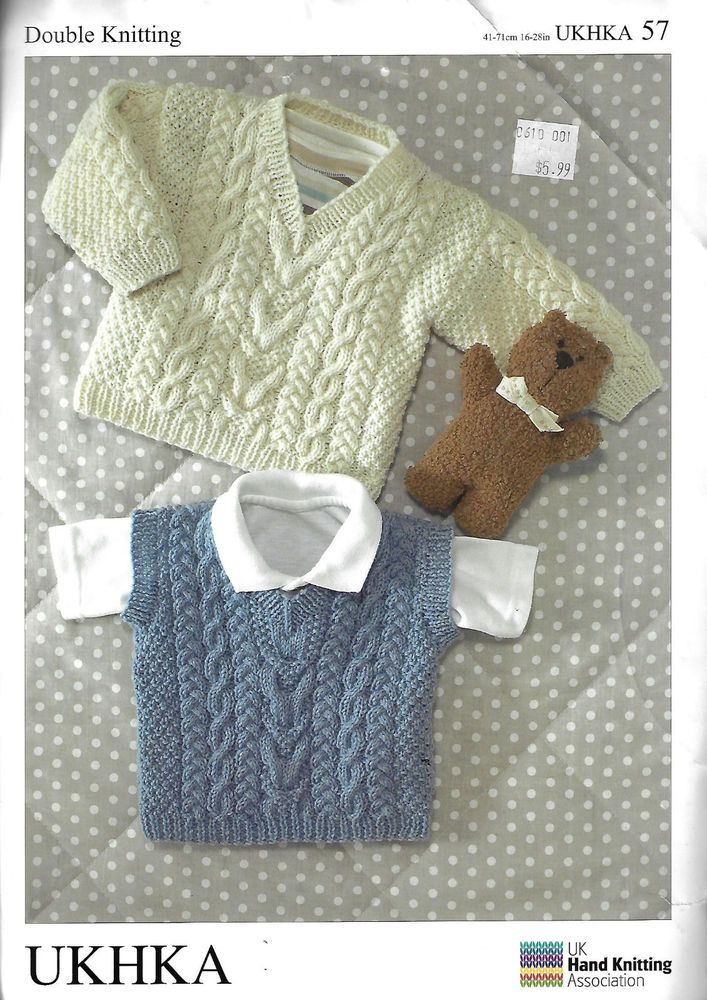 Baby Childs Cable Aran Sweater Vest Ukhka 57 Knitting Pattern