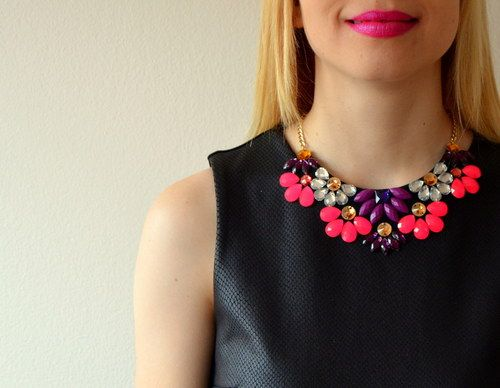 Květinový náhrdelník - fialovo růžový