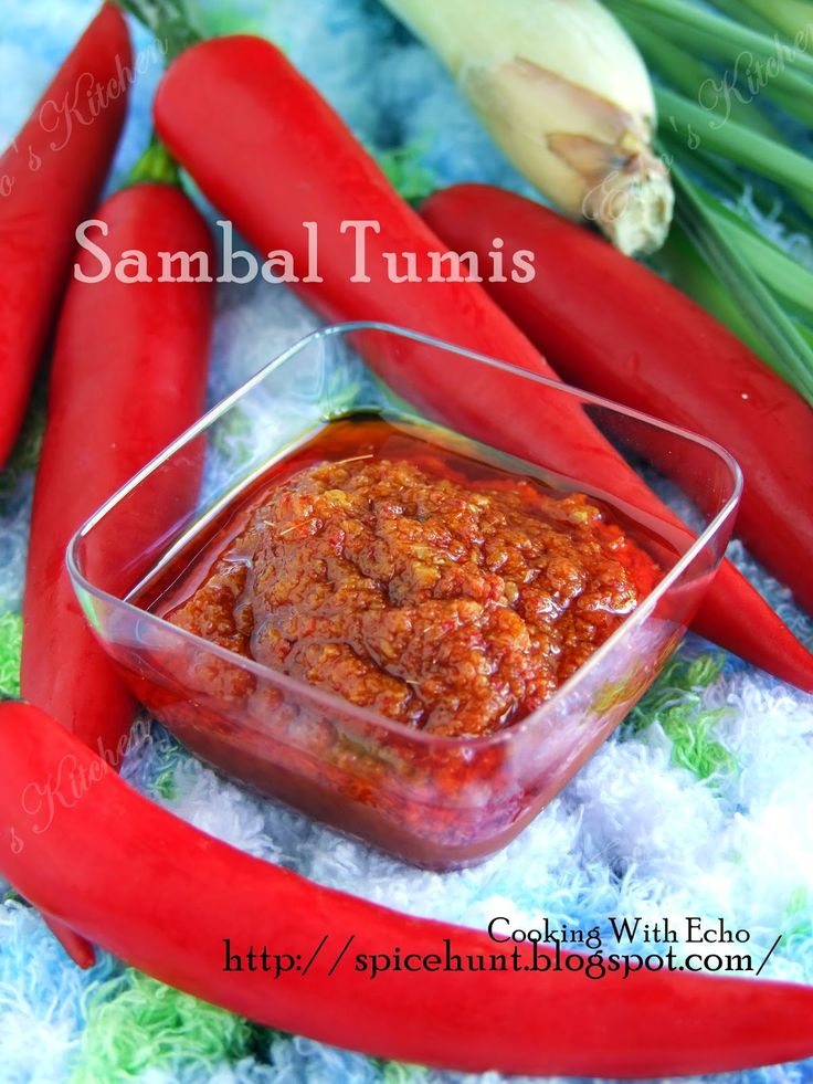 SAMBAL TUMIS #malaysian ==Ingredients== 10 Shallot, 6 Cloves  garlic, 6 Fresh red chilli , 15 Dried Chilli (or 3-4 T  Chilli powder), 1T  Belacan (or use 2T  dried shrimp), 1 1/2 inch galangal(or 1 stalk  Lemongrass), 3 T oil (for grinding), 1/3 c oil(For cooking)  == SEASONING== 1 T Tamarind  or 2 T  lemon/lime juice, 3 T Sugar, 1 t Salt====