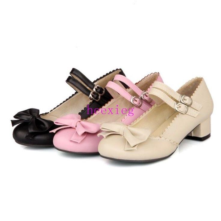 Women's Marry Janes Shoes Sweety Lolita Bowknot Block Heel Ankle Strap Pumps