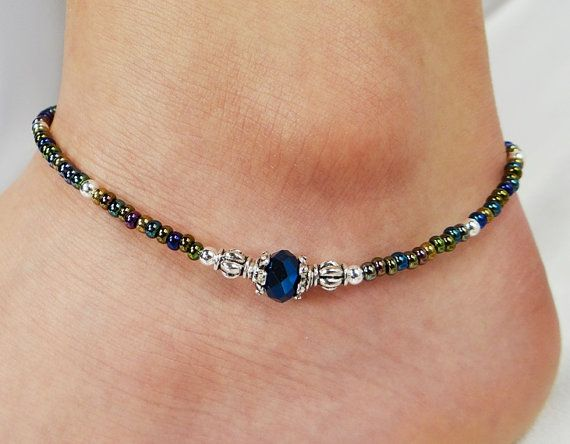 Anklet Ankle Bracelet Metallic Blue Crystal by ABeadApartJewelry, $11.00