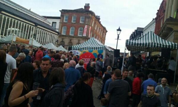 Having a great time at the Fringe Festival in Stockport Old Town