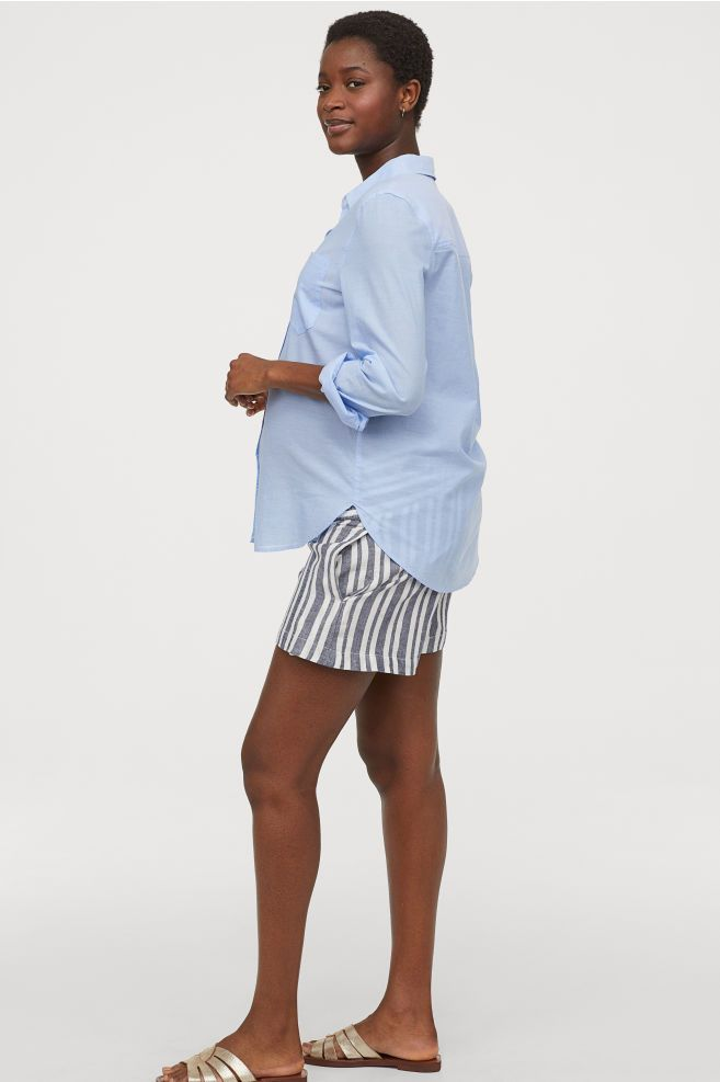 86c1d0763f6f8 MAMA Shorts with Smocking - Dark blue/white striped - Ladies | H&M ...