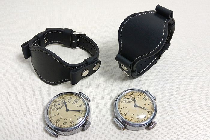 Ремешок-браслет для марьяжных часов с несъемными ушками из крокодила (каймана). Шитье вручную седельным швом. Застежка-бабочка значительно удобнее классических пряжек и продлит срок службы ремешку.