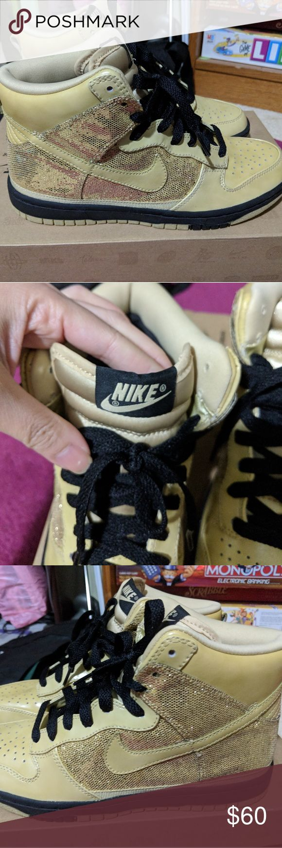 Nike high top dunks: metallic gold, gold, and blac New, never worn Nike high top dunks: metallic gold, gold, and black. Nike Shoes Sneakers
