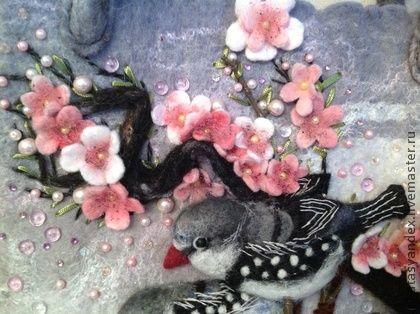 Сакура - серый,сакура,птицы,сумка с птицами,весна,цветущая сакура,цветущая вишня