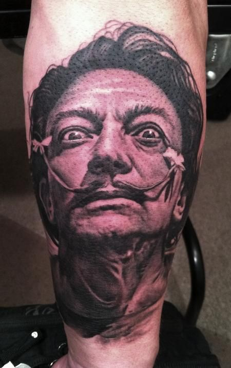 Bob Tyrell, a master of portrait tattoos, does an incredible Dali.