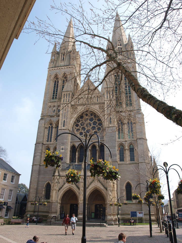 """Truro Catherdral: """"Truro's Victorian masterpiece is the first Anglican cathedral to be built on a new site since Salisbury Cathedral began to rise from the ground in 1220. It needed to be impressive: for 800 years Cornwall had been denied its own bishop, and decades of intense lobbying finally paid off when, in 1877, the diocese of Cornwall (which had last been held at St Germans, in the 10th century) was finally re-established on Cornish soil, at Truro."""" www.bradtguides.com"""