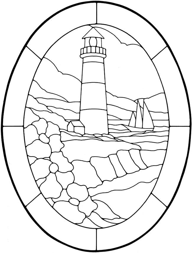 this lovely lighthouse stained glass digital image is available for free from dover publications