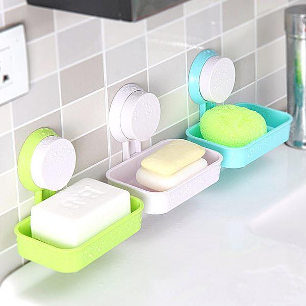 Bathroom Suction Soap Dish Tray Holder Storage Shelf Tray For Shower or Bathtub