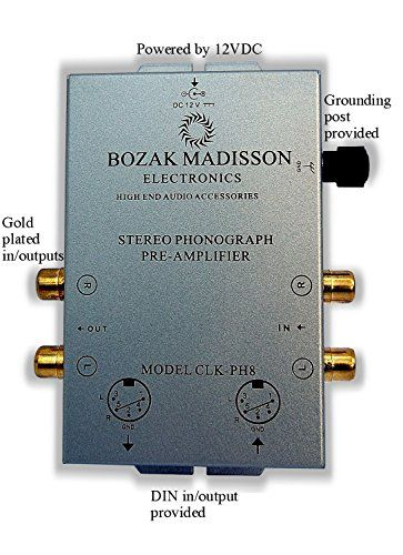 Bozak Madisson CLK-PH8 Phono Preamp Preamplifier Turntable Amplifier with DIN in/out  Compatible with moving magnet phono cartridges.  External power supply for reduced noise and interference.  Metal case shields electronics from vibration and electromagnetic interference.  Dual-mono circuitry for optimal channel separation.  DIN in/outputs.