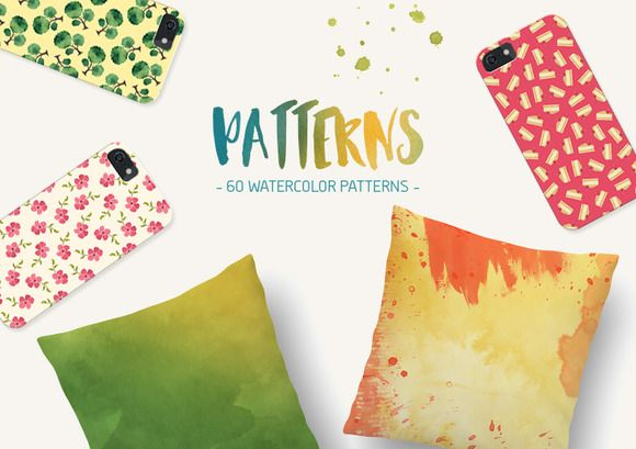 60 Seamless Watercolor Patterns by Dreamstale on Creative Market