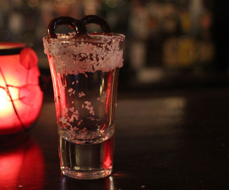 Chocolate covered pretzel shot Always drink responsibly and use a designated driver! What you will need:  1oz whipped vodka  1oz Frangelico (hazelnut flavored liqueur)  Salt  Shot glass  Shaker  Ice Optional - chocolate dipped pretzel for garnish