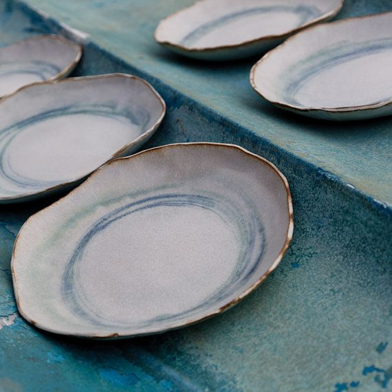 9 inch Dinner Plate circles in copper and blue by karanote on Etsy > These are great. Made in Ithaca NY