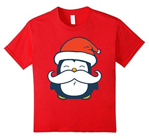 Kids Christmas Mustache Penguin T-Shirt 4 Red Irony Designs…
