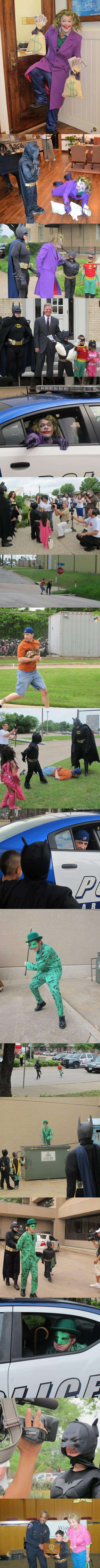 "Local police help 7 y.o. leukemia patient play ""Batman"". Faith in humainty = restored"