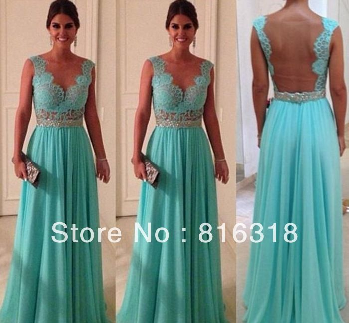 Free Shipping New Arrival A-line Lace Vestidos Formales Cap Sleeve Backless Blue Sexy Long Formal Dresses Evening Dresses 2014 $124.60