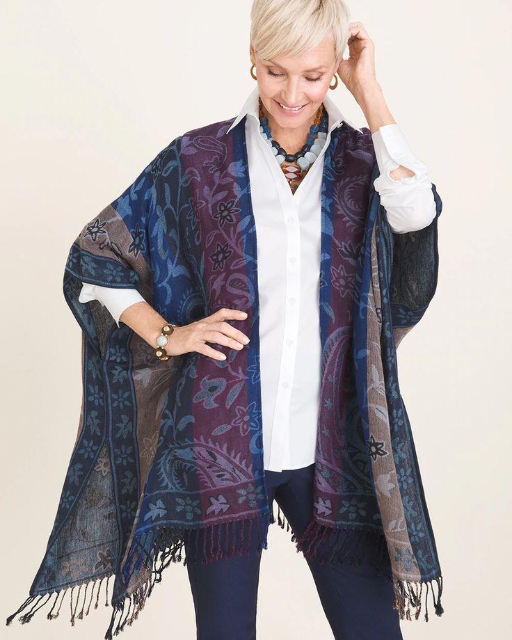 Chicos bluemix jacquard ruana wrap ruana wrap clothes