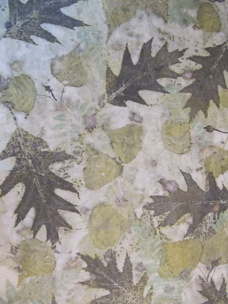 Red oak and grey birch on organic cotton muslin Ecouture Textiles http://ecouturetextilestudio.com/