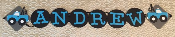Name Banner Truck/ Cars/ Birthday/ Party/ by SusiesVinylCreations