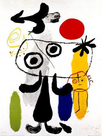 """Joan Miro """"Figur Gegen Rote Sonne II"""", 1950  http://www.art.com/products/p12342075-sa-i874219/joan-miro-figur-gegen-rote-sonne-ii-c-1950.htm?sOrig=CATsOrigID=1822dimVals=1822-207226ui=8BA39180A65640B0981F26D30628AE9F"""