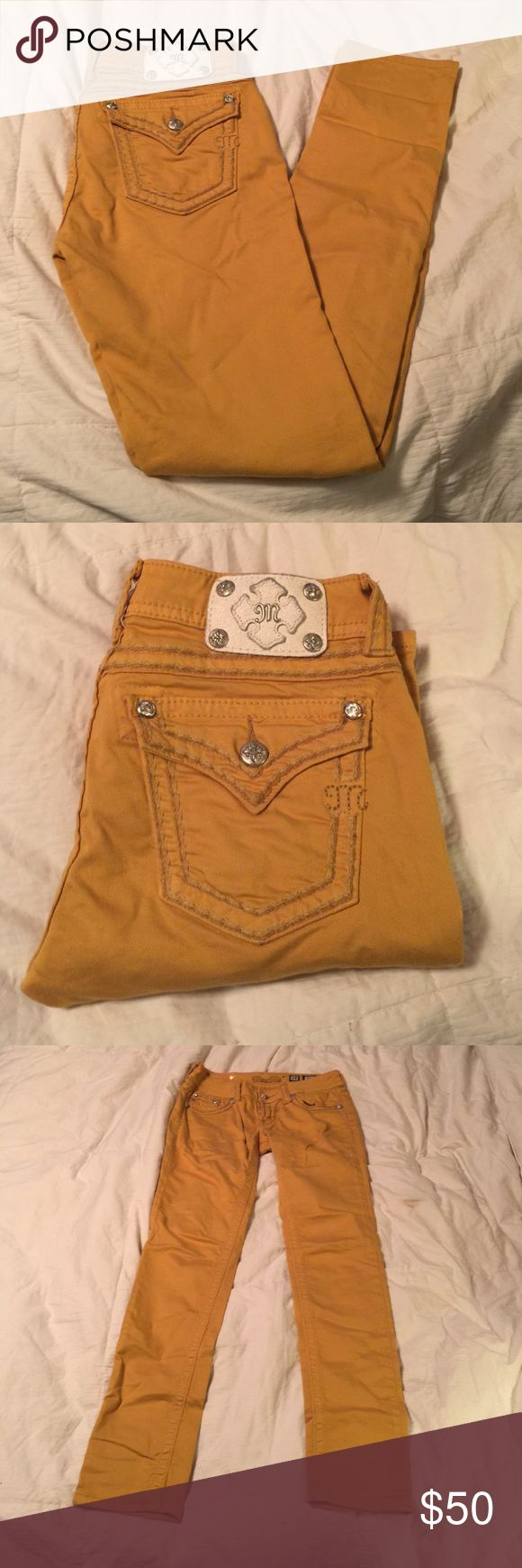 Miss Me Skinny Jeans Like new condition. Mustard color great with a sweater and booties! Miss Me Jeans Skinny