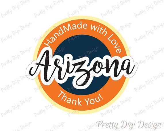 Digital Hand Made with love in Arizona round sticker design, Arizona jpg, png, eps, svg, dxf,  Arizona logo design, Arizona printable design