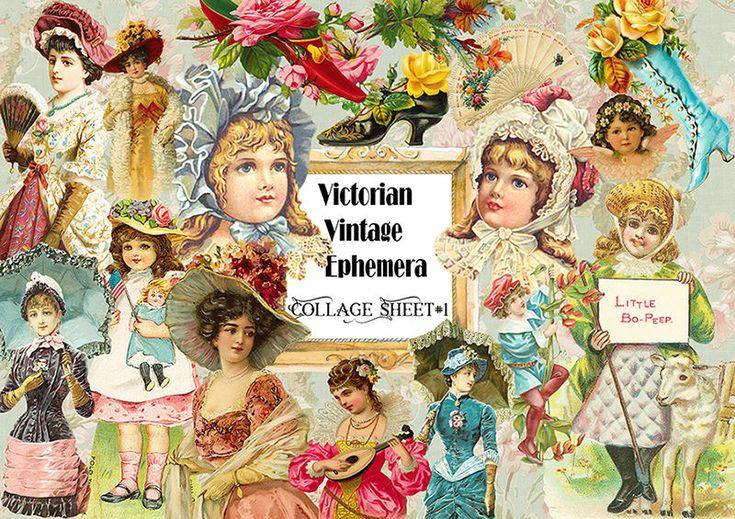 Victorian Vintage Ephemera Die-Cut,Vintage ephemera Paper,Scrapbook Card Making