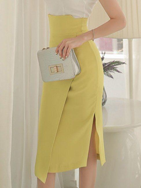 High Waist Open Fork Mid-length Skirt