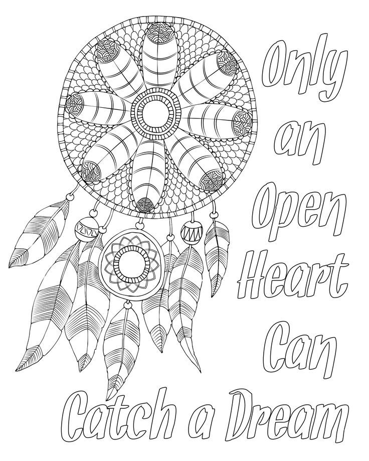Free adult coloring page Dream catcher with quote I