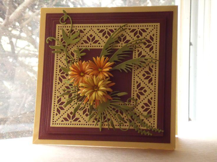 Dies: Cheery Lynn Mexican Tile & Chrysanthemum Strip B311, flourishes & leaves by Marianne design.