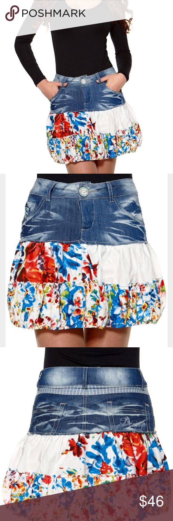 "Rare💥Desigual Boutique Designer Denim Skirt Rare unique piece! Desigual Katekub Rock denim jean skirt. Multicolored: blue, yellow, green, red. Size 34/XS. Length: 16"" Waist: 13.5"" Gorgeous intense floral print! Would be so perfect for a 80s party and even everyday! (First three photos are stock photos) Tags: Patchwork design, trendy, vintage, 80's, 90's, rock, damen, grunge. Desigual Skirts A-Line or Full"