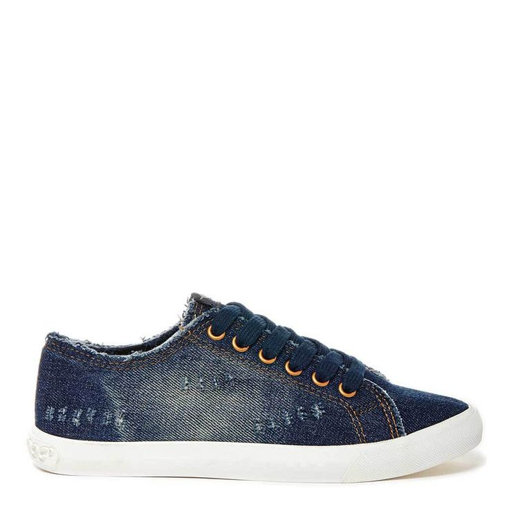 This comfy lace-up Campo sneaker in distressed, dark blue denim will become  your new favorite fashion staple.
