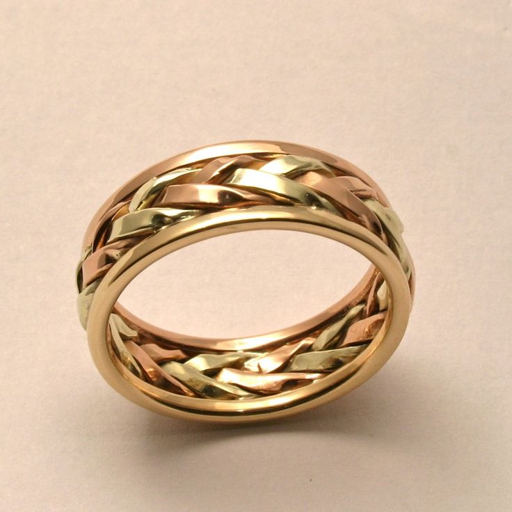 braided in gold mens large wedding band handmade in maine groom wedding bandsunique - Mens Wedding Rings Unique
