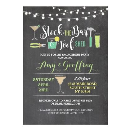 stock the bar tool shed engagement invite shower ideas cyo