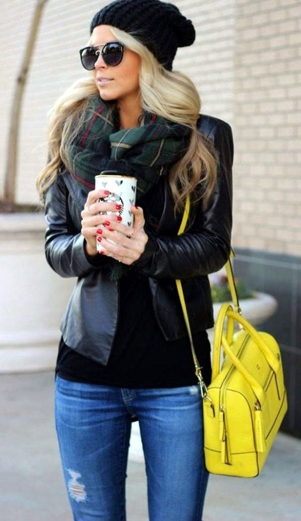 This outfit is perfect for me. I have the jeans and the black shirt. Just the jacket and the scarf would be perfect.