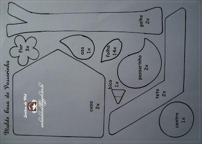 Casinha de passarinho: Ems Feltro, Casinha De Feltro, Good Home-Coming, Moldecasapassarinho01 3 Jpg, Birdhouse, Finch, Birds House, Crafts Ems, Crafts