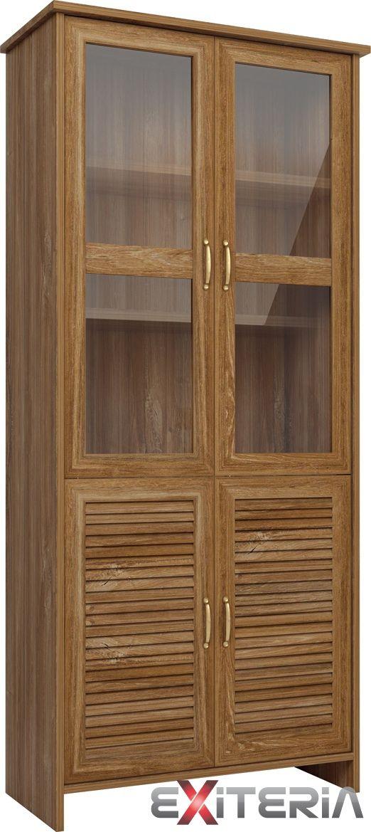 Čiastočne presklená vitrína Cintia 2 z lamina, dub