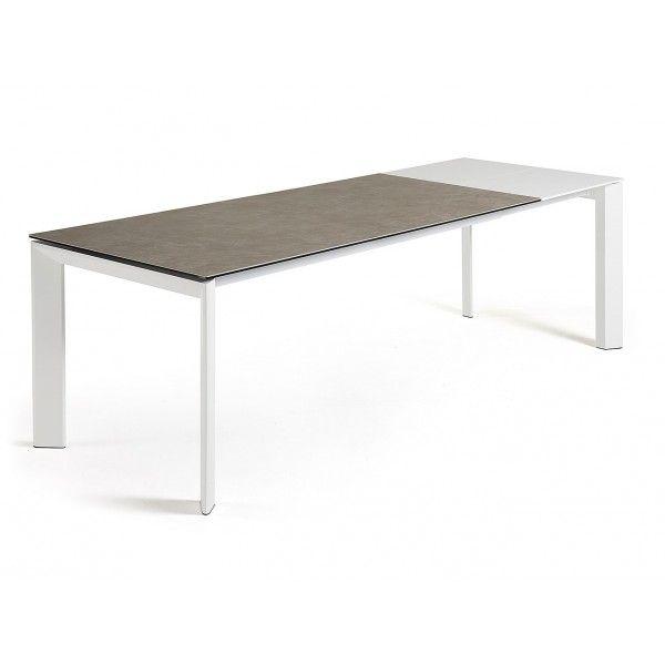 Tavolo allungabile elegantissimo dal design moderno con piano in vetro temperato in accoppiato con gres porcellanato