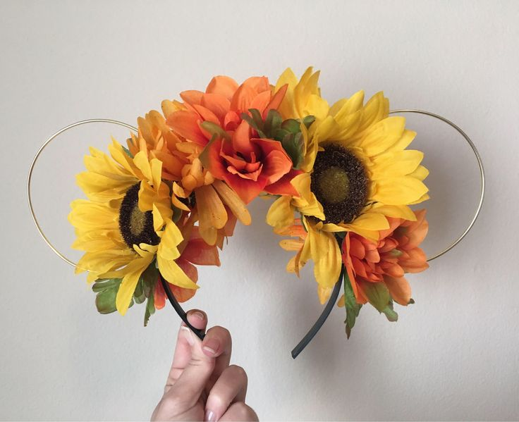 Yellow and Orange Sunflower Floral Minnie Mouse Ears | Minnie Ears | Mickey Ears | Gold Wire Ears | Floral Crown | Floral Headband | Fall by RecycleMonster on Etsy https://www.etsy.com/listing/537737800/yellow-and-orange-sunflower-floral
